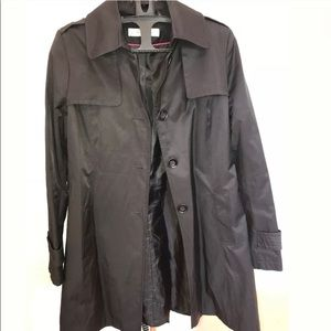 Via Spiga Black Trench Coat Small Long